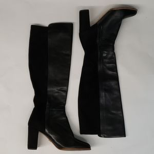 Cecelia New York Black Leather & Suede Tall Boots